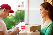 Delivery person with client