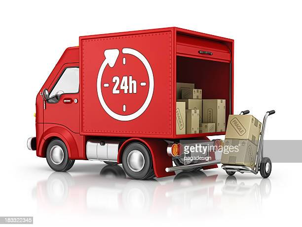 delivery van and 24 h sign
