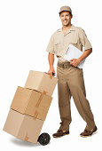 Deliveryman Delivers Boxes - Isolated
