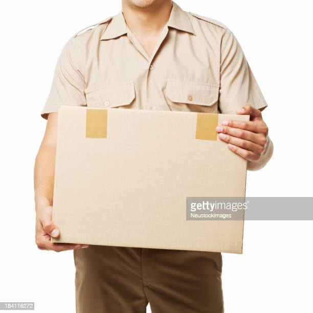 Deliveryman Holding a Package - Isolated