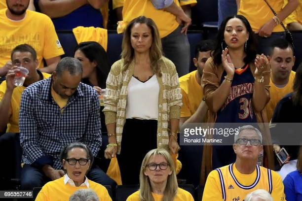 Dell and Sonya Curry parents of Stephen Curry of the Golden State Warriors sit with his wife Ayesha Curry in the stands during Game 5 of the 2017 NBA...