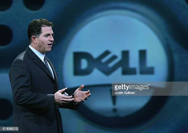 Dell CEO Michael Dell delivers a keynote address at the 2004 Oracle OpenWorld Conference December 7 2004 in San Francisco The annual technology...