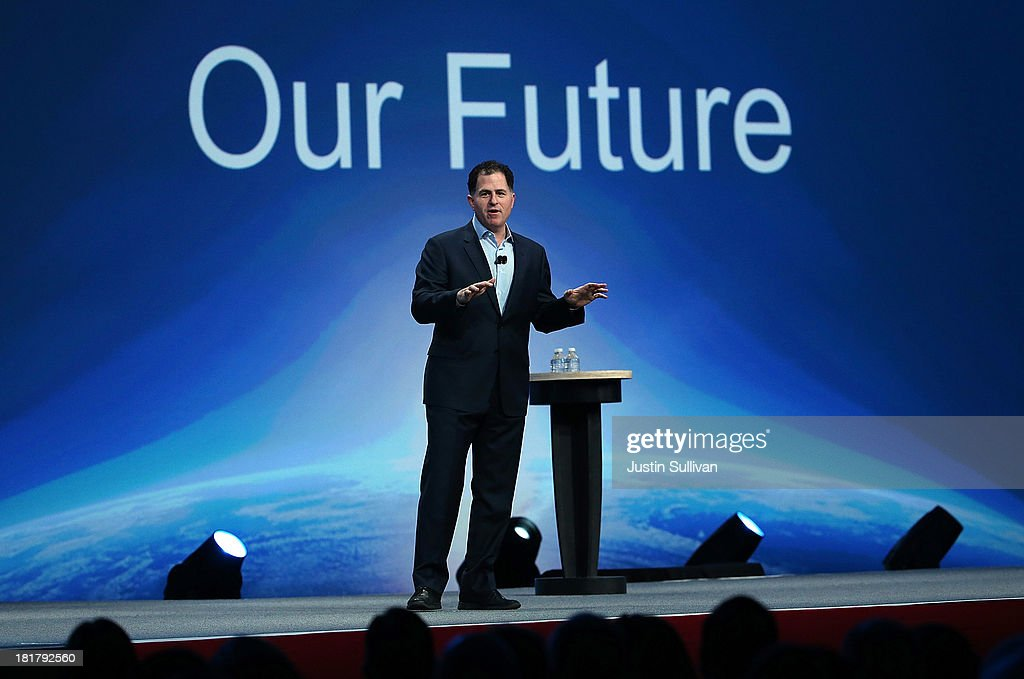 Dell CEO Michael Dell delivers a keynote address during the 2013 Oracle Open World conference on September 25, 2013 in San Francisco, California. The week-long Oracle Open World conference runs through September 26.