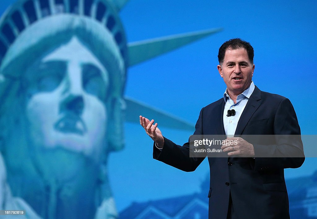Dell CEO Michael Dell delivers a keynote address during the 2013 Oracle Open World conference on September 25 2013 in San Francisco California The...