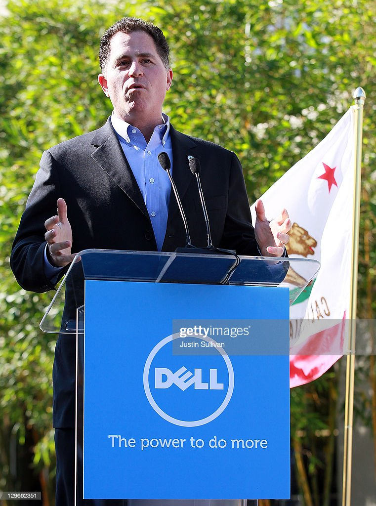 Dell chairman and CEO <a gi-track='captionPersonalityLinkClicked' href=/galleries/search?phrase=Michael+Dell&family=editorial&specificpeople=240605 ng-click='$event.stopPropagation()'>Michael Dell</a> speaks during a ribbon cutting ceremony to open the new Dell research and development facility on October 19, 2011 in Santa Clara, California. California governor Jerry Brown and Dell Chairman and CEO <a gi-track='captionPersonalityLinkClicked' href=/galleries/search?phrase=Michael+Dell&family=editorial&specificpeople=240605 ng-click='$event.stopPropagation()'>Michael Dell</a> attended a ribbon cutting to open the new Dell research and development facility that was followed by a career fair to hire hundreds of employees for the new facilty.