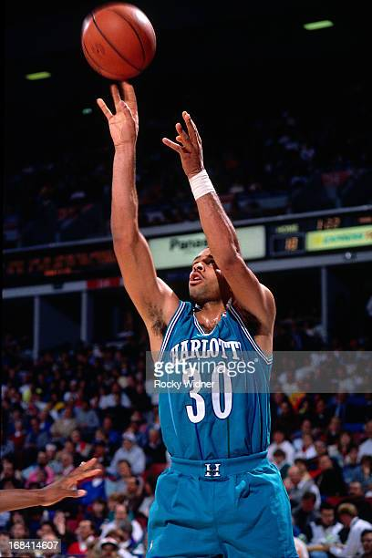 Dell Curry of the Charlotte Hornets shoots the ball against the Sacramento Kings during a game played on February 27 1991 at Arco Arena in Sacramento...