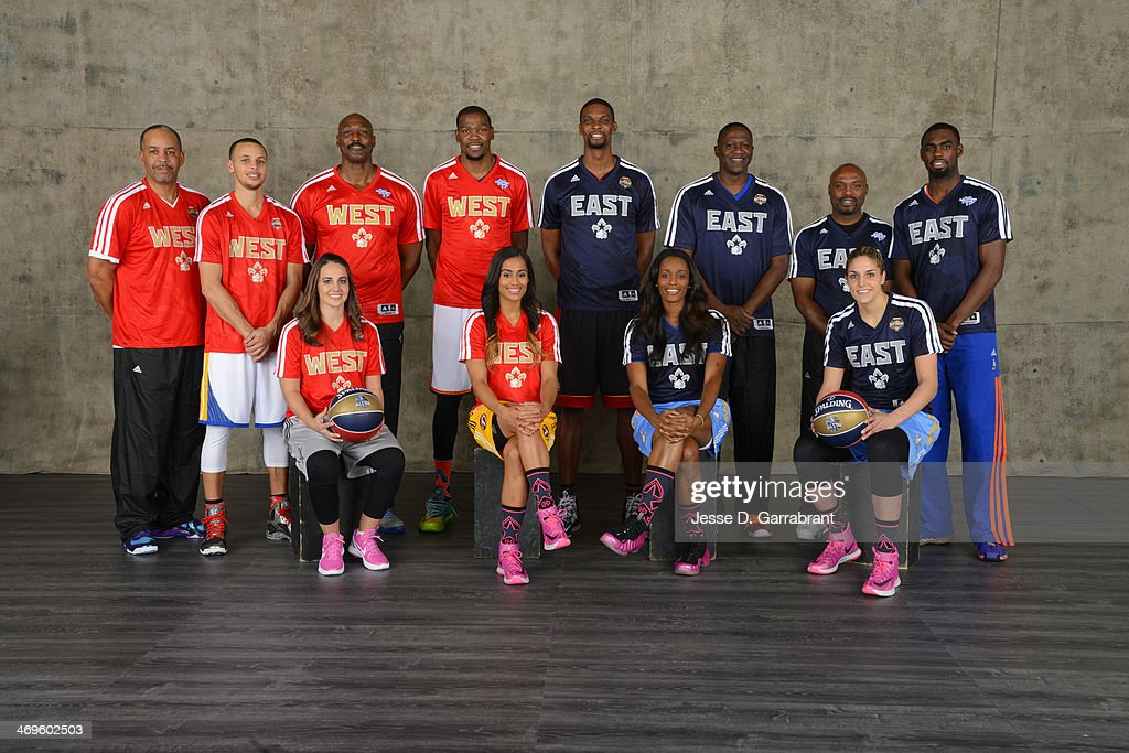 Dell Curry, Stephen Curry, Becky Hammon, Karl Malone, Kevin Durant, Skylar Diggins, Chris Bosh, Swin Cash, Dominique Wilkins, Tim Hardaway, Tim Hardaway Jr. and Elena Delle Donne poses for a portrait prior to Sears Shooting Stars Competition as part of the 2014 State Farm Saturday Night on February 15, 2014 at the Smoothie King Center in New Orleans, Louisiana.