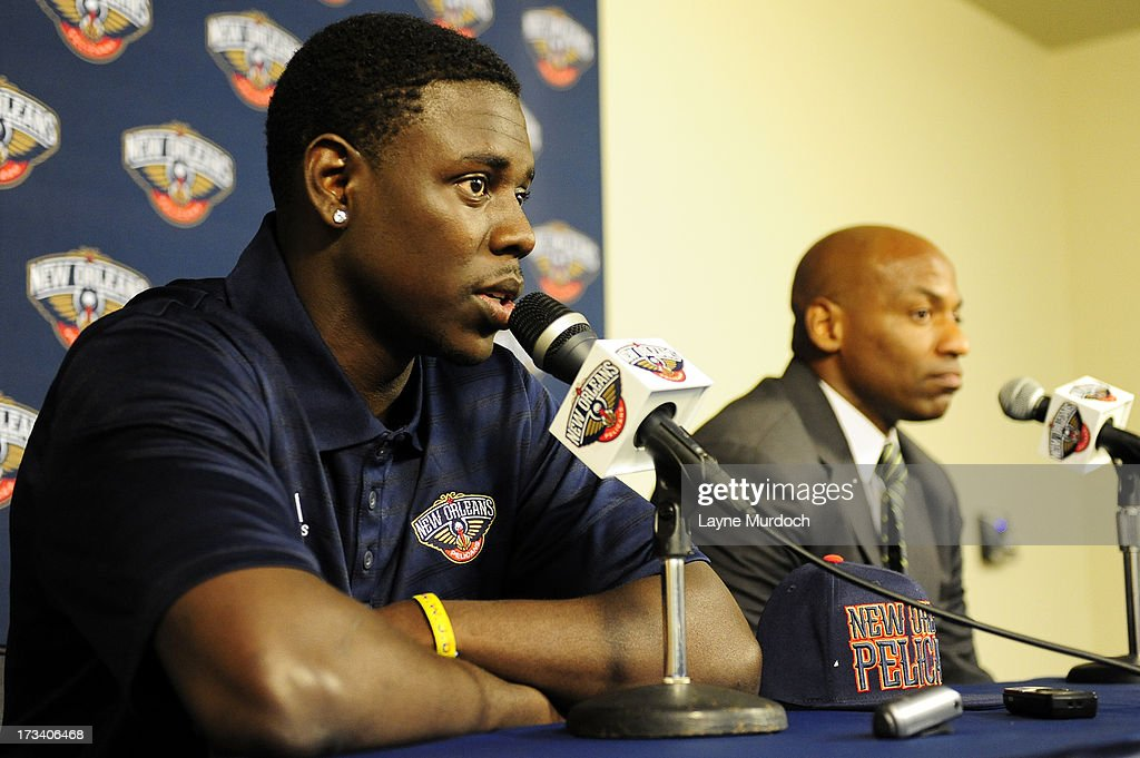 Dell Demps general manager of the New Orleans Pelicans introduces Jrue Holiday acquired in a trade on July 12 2013 at the New Orleans Pelicans...