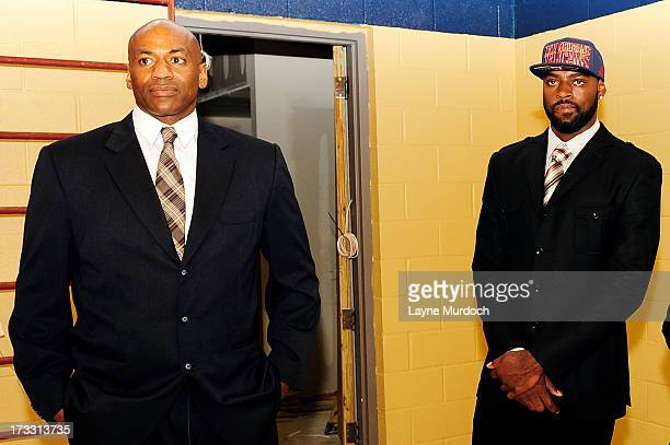 Dell Demps general manager of the New Orleans Pelicans takes Tyreke Evans on a tour of the Pelicans new practice facility after the team acquired...