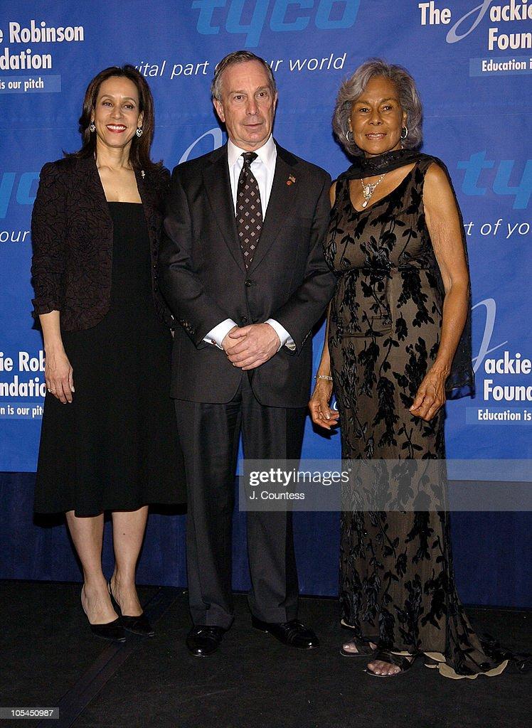 Della Britton Baeza Mayor Michael Bloomberg and Rachel Robinson founder of the Jackie Robinson Foundation