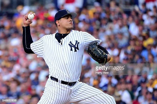 Dellin Betances of the New York Yankees and the American League pitches against the National League during the 87th Annual MLB AllStar Game at PETCO...