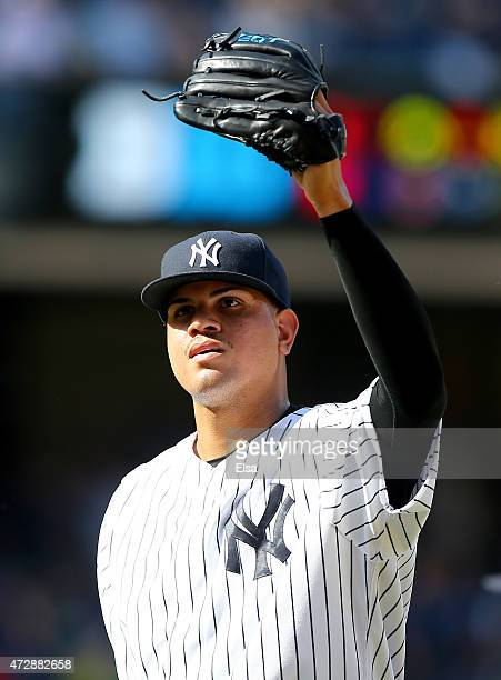 Dellin Betances of the New York Yankees celebrates after the game against the Baltimore Orioles on May 10 2015 at Yankee Stadium in the Bronx borough...