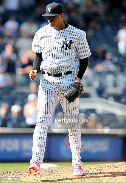 Dellin Betances of the New York Yankees celebrates the win over the Baltimore Orioles on May 10 2015 at Yankee Stadium in the Bronx borough of New...