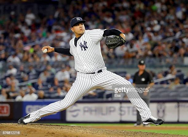 Dellin Betances of the New York Yankees delivers a pitch against the Boston Red Sox in the seventh inning at Yankee Stadium on July 17 2016 in the...