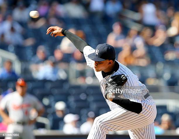 Dellin Betances of the New York Yankees delivers a pitch in the ninth inning against Baltimore Orioles on May 10 2015 at Yankee Stadium in the Bronx...