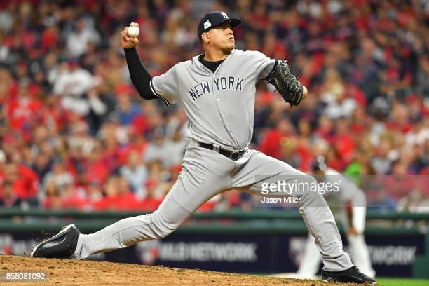 Dellin Betances of the New York Yankees delivers the pitch during the eighth inning against the Cleveland Indians during game one of the American...