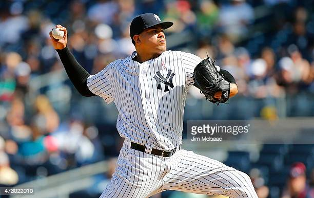 Dellin Betances of the New York Yankees in action against the Baltimore Orioles at Yankee Stadium on May 10 2015 in the Bronx borough of New York...
