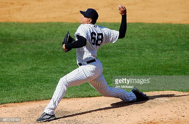 Dellin Betances of the New York Yankees in action against the Tampa Bay Rays at Yankee Stadium on September 6 2015 in the Bronx borough of New York...