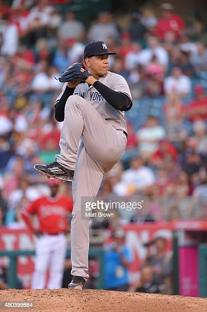 Dellin Betances of the New York Yankees pitches against the Los Angeles Angels of Anaheim at Angel Stadium of Anaheim on July 1 2015 in Anaheim...