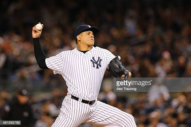 Dellin Betances of the New York Yankees pitches during the American League Wild Card Game against the Houston Astros on Tuesday October 6 2015 at...