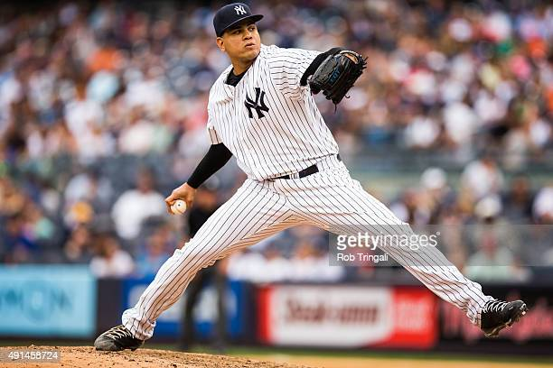 Dellin Betances of the New York Yankees pitches during the game against the Toronto Blue Jays at Yankee Stadium on September 13 2015 in the Bronx...