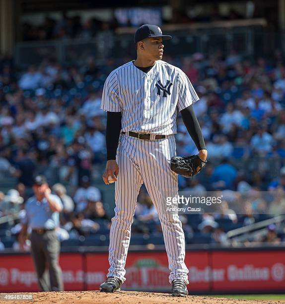 Dellin Betances of the New York Yankees pitches during the game against the Tampa Bay Rays at Yankee Stadium on Sunday September 6 2015 in the Bronx...