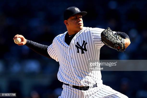 Dellin Betances of the New York Yankees pitches during the game against the Houston Astros at Yankee Stadium on Tuesday April 5 2016 in the Bronx...