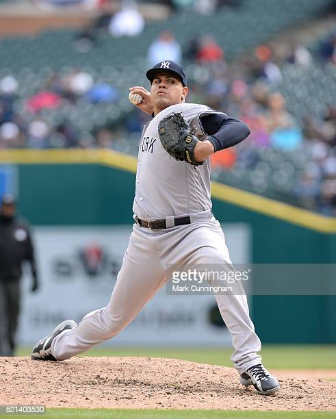 Dellin Betances of the New York Yankees pitches during the game against the Detroit Tigers at Comerica Park on April 9 2016 in Detroit Michigan The...