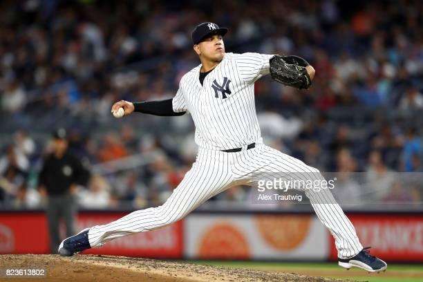 Dellin Betances of the New York Yankees pitches during the game against the Cincinnati Reds at Yankee Stadium on Tuesday July 2017 in the Bronx...