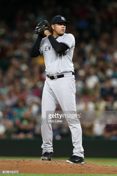 Dellin Betances of the New York Yankees pitches during the game against the Seattle Mariners at Safeco Field on July 20 2017 in Seattle Washington...