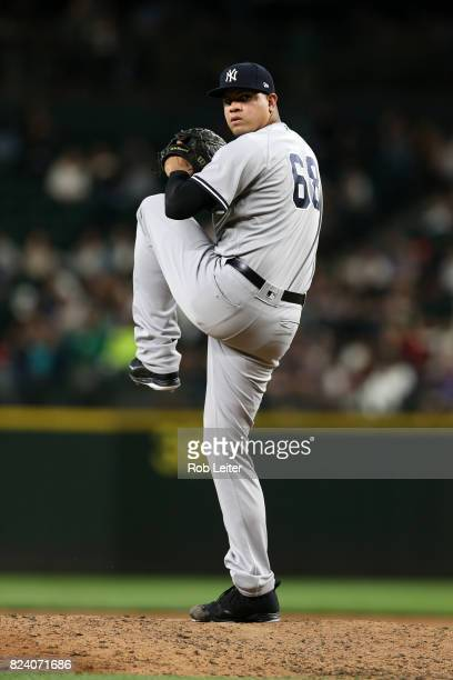Dellin Betances of the New York Yankees pitches during the game against the Seattle Mariners at Safeco Field on July 21 2017 in Seattle Washington...