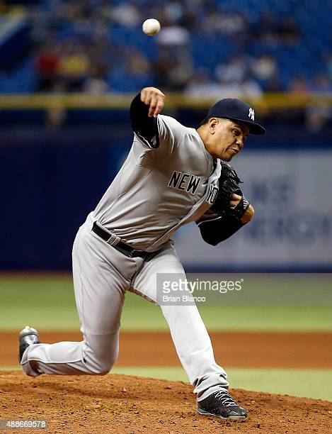 Dellin Betances of the New York Yankees pitches during the seventh inning of a game against the Tampa Bay Rays on September 16 2015 at Tropicana...