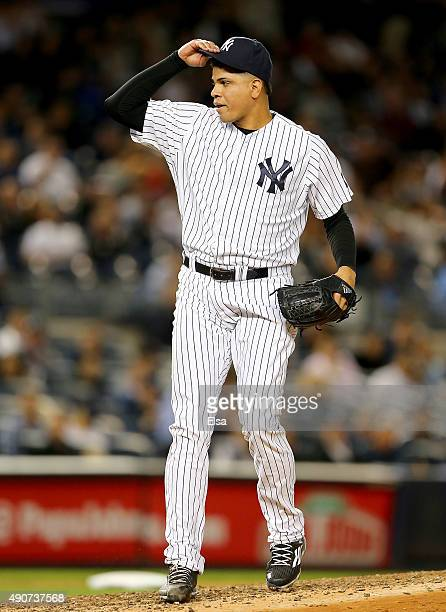 Dellin Betances of the New York Yankees reacts in the seventh inning against the Boston Red Sox on September 30 2015 at Yankee Stadium in the Bronx...