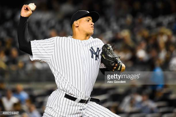 Dellin Betances of the New York Yankees throws a pitch during a game agasint the Tampa Bay Rays at Yankee Stadium on September 10 2014 in the Bronx...