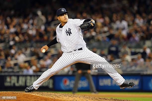 Dellin Betances of the New York Yankees throws a pitch in the seventh inning against the Houston Astros during the American League Wild Card Game at...
