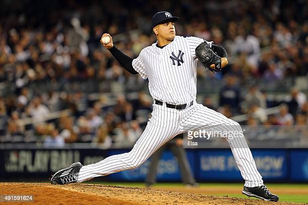 Dellin Betances of the New York Yankees throws a pitch to relieve Justin Wilson in the seventh inning against the Houston Astros during the American...