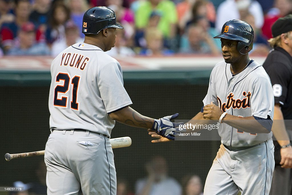 <a gi-track='captionPersonalityLinkClicked' href=/galleries/search?phrase=Delmon+Young&family=editorial&specificpeople=700362 ng-click='$event.stopPropagation()'>Delmon Young</a> #21 celebrates with <a gi-track='captionPersonalityLinkClicked' href=/galleries/search?phrase=Austin+Jackson&family=editorial&specificpeople=608633 ng-click='$event.stopPropagation()'>Austin Jackson</a> #14 of the Detroit Tigers after Jackson scored during the fifth inning against the Cleveland Indians at Progressive Field on July 25, 2012 in Cleveland, Ohio.