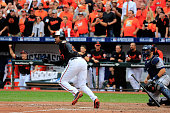 Delmon Young of the Baltimore Orioles hits a three run RBI double to deep left feild in the eighth inning against Joakim Soria of the Detroit Tigers...