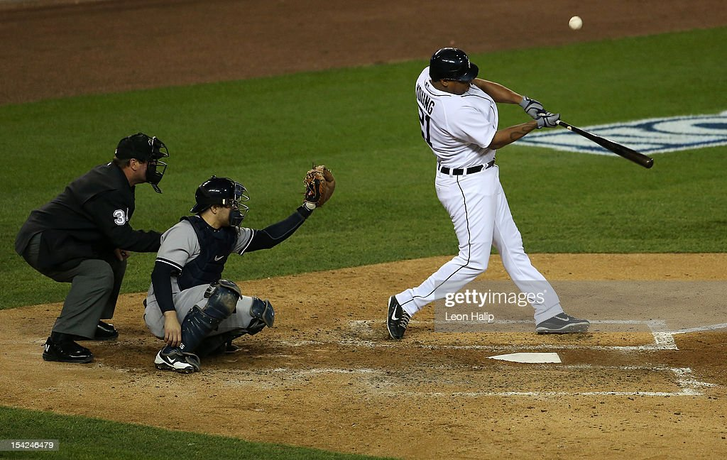 <a gi-track='captionPersonalityLinkClicked' href=/galleries/search?phrase=Delmon+Young&family=editorial&specificpeople=700362 ng-click='$event.stopPropagation()'>Delmon Young</a> #21 of the Detroit Tigers hits a solo home run in the bottom of the fourth inning against the New York Yankees during game three of the American League Championship Series at Comerica Park on October 16, 2012 in Detroit, Michigan.