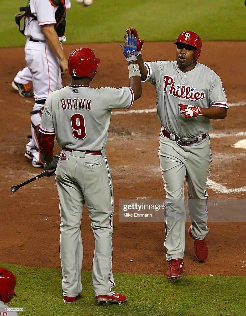 <a gi-track='captionPersonalityLinkClicked' href=/galleries/search?phrase=Delmon+Young&family=editorial&specificpeople=700362 ng-click='$event.stopPropagation()'>Delmon Young</a> #3 of the Philadelphia Phillies hits a solo home run during a game against the Miami Marlins at Marlins Park on May 21, 2013 in Miami, Florida.