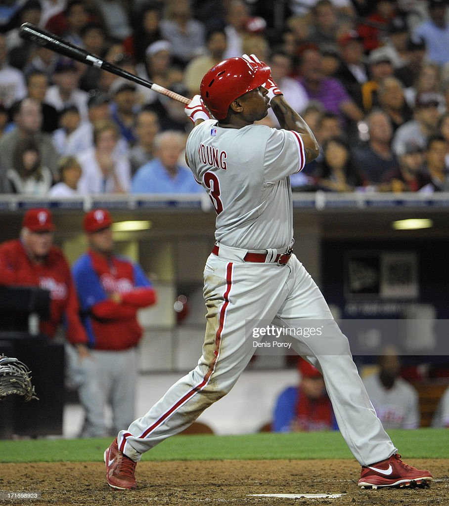 Delmon Young #3 of the Philadelphia Phillies hits a two-run home run during the eighth inning of a baseball game against the San Diego Padres at Petco Park on June 26, 2013 in San Diego, California.