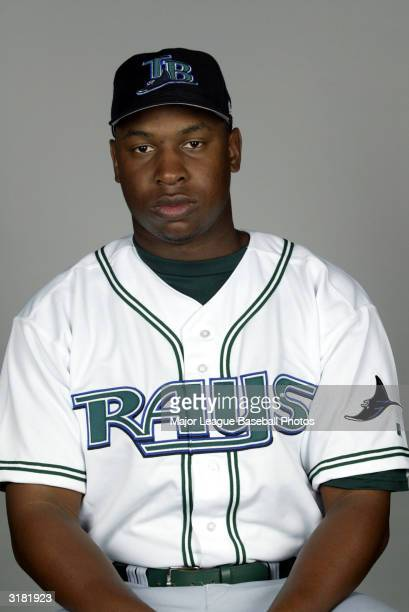 Delmon Young of the Tampa Bay Devil Rays poses for a portrait on February 23 2004 in St Petersburg Florida