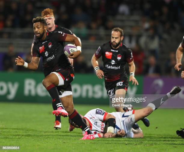 Delon Armitage of Lyon breaks with the ball during the European Rugby Challenge Cup match between Lyon and Sale Sharks at Matmut Stade de Gerland on...