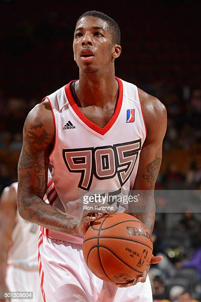 Delon Wright of the Raptors 905 shoots a free throw against the Maine Red Claws at the Air Canada Centre on December 11 2015 in Toronto Ontario...
