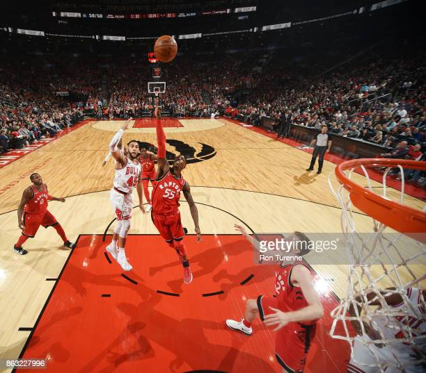 Delon Wright of the Toronto Raptors and Denzel Valentine of the Chicago Bulls vie for the ball during the game on October 19 2017 at the Air Canada...