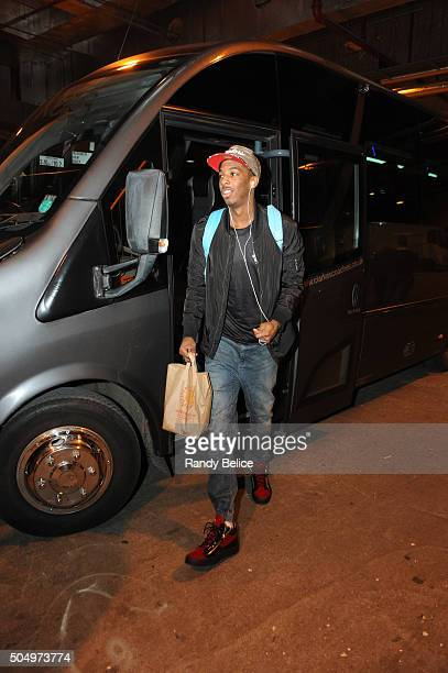 Delon Wright of the Toronto Raptors arrives for the game against the Orlando Magic as part of the 2016 Global Games London on January 14 2016 at The...