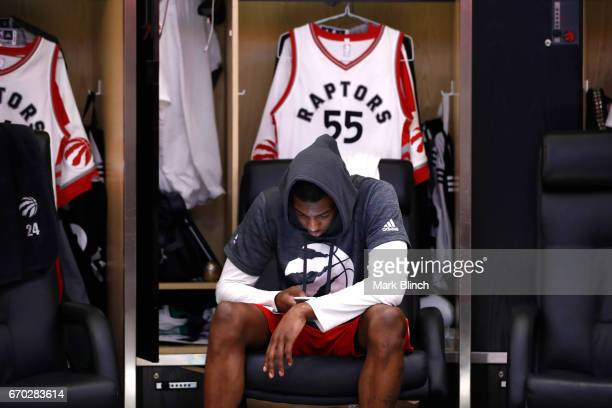 Delon Wright of the Toronto Raptors before the game against the Milwaukee Bucks on April 15 2017 during Game One of Round One of the 2017 NBA...