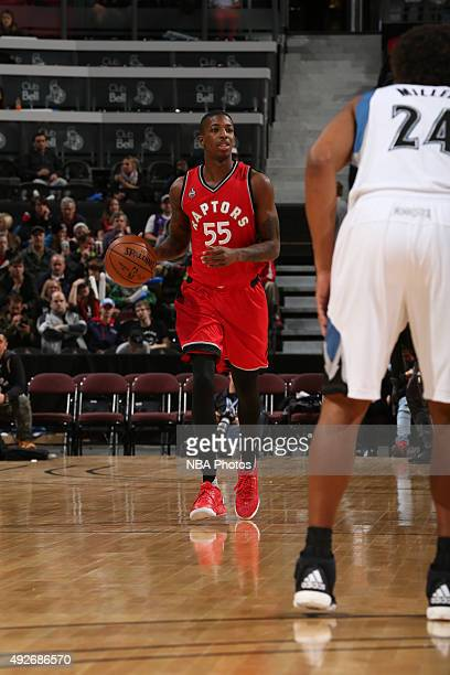 Delon Wright of the Toronto Raptors brings the ball up court against the Minnesota Timberwolves at Canadian Tire Centre on October 14 2015 in Ottawa...