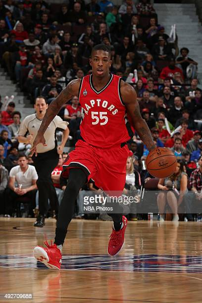 Delon Wright of the Toronto Raptors dribbles the ball against the Minnesota Timberwolves at Canadian Tire Centre on October 14 2015 in Ottawa Ontario...