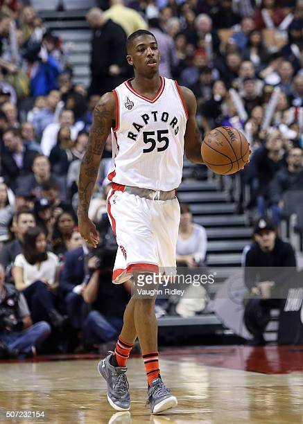 Delon Wright of the Toronto Raptors dribbles the ball during an NBA game against the Washington Wizards at the Air Canada Centre on January 26 2015...
